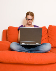 online high school student girl orang couch
